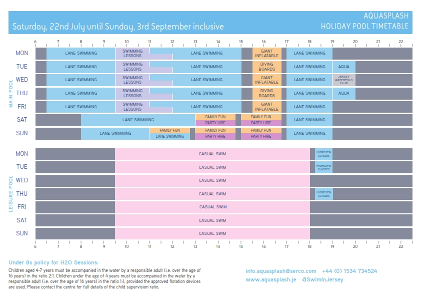 Summer holiday pool timetable 2017